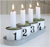 Ib Laursen Adventstaker 1-2-3-4 i emalje