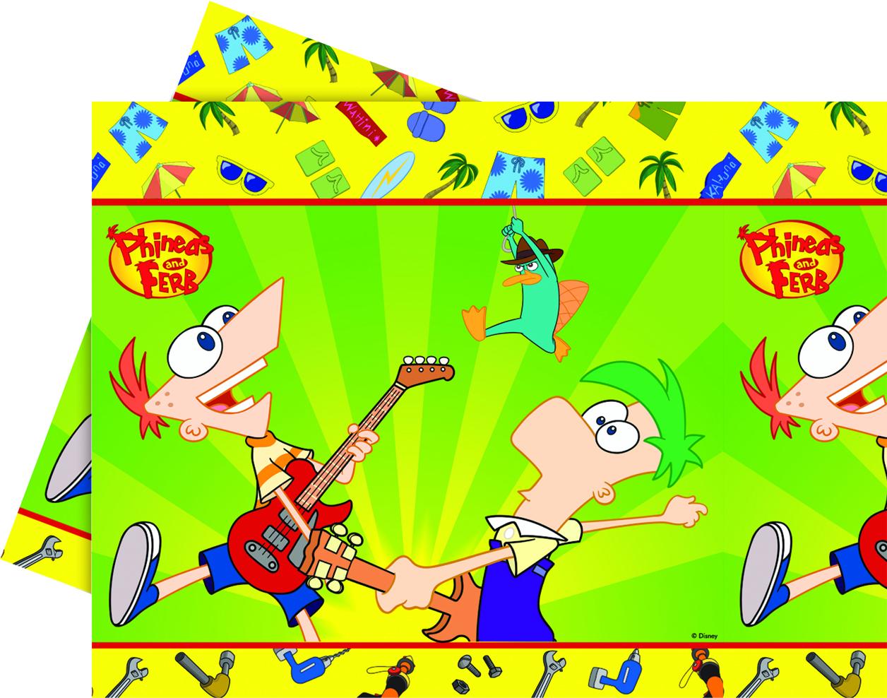 Phineas & Ferb Plastduk str. 120x180 cm Praktisk engangsduk i Phineas & Ferb-design. (1 stk) (126-7087)