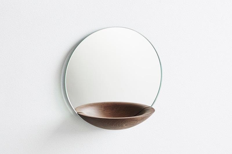 Woud Speil m/hylle Eik-Smoked Small (447-150013)